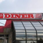 step one signs installation of large store sign of lexan at Dover_diner_lightbox