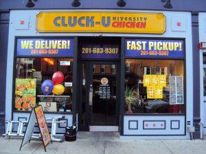 cluck u hoboken store front signs vinyl graphics