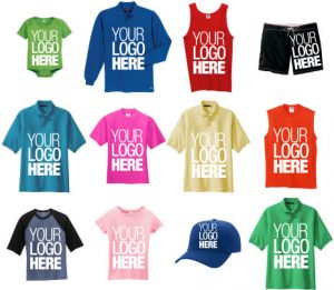 Image of various shirts and apparel that you can have customized
